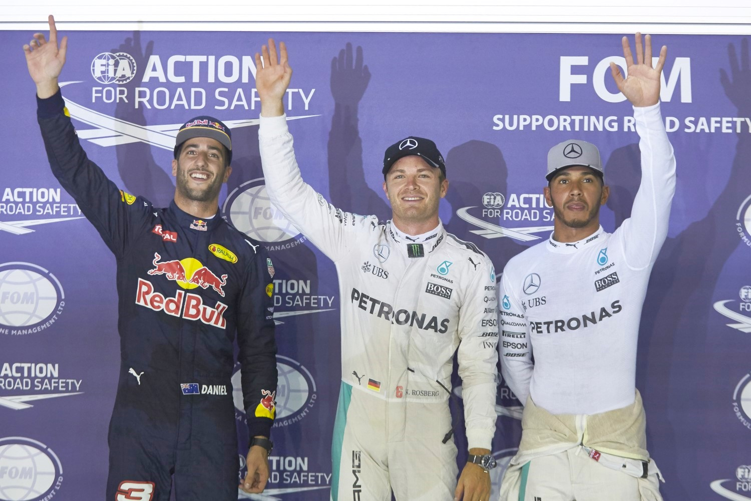 From left, Ricciardo, Rosberg and Hamilton