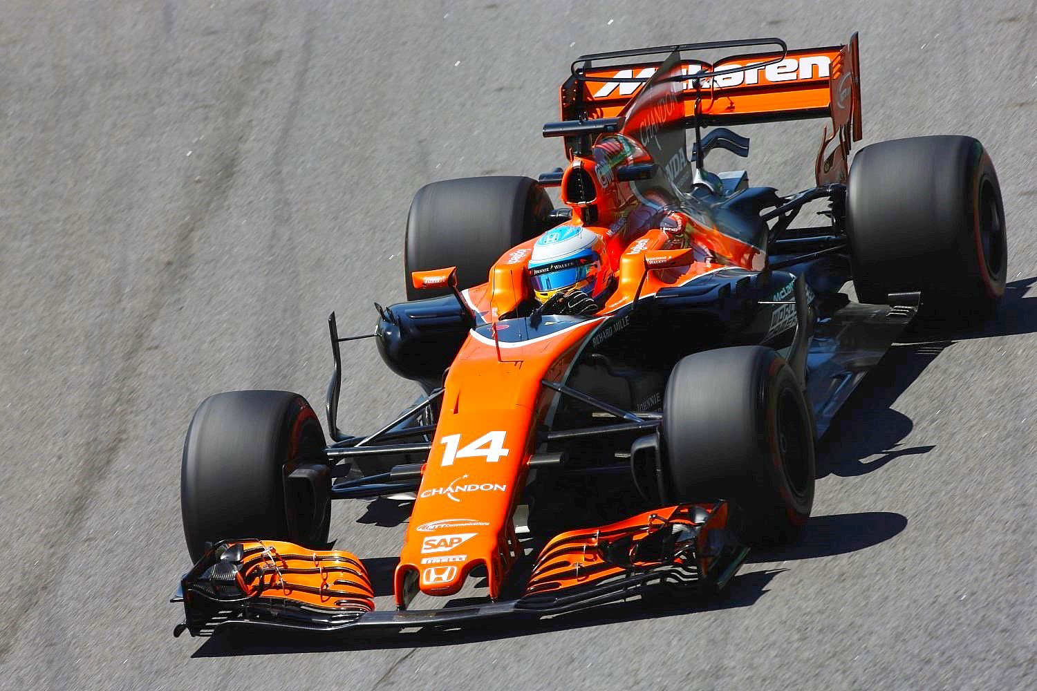 If Alonso would stop running so much downforce and drag in his McLaren maybe it would be faster down the straights