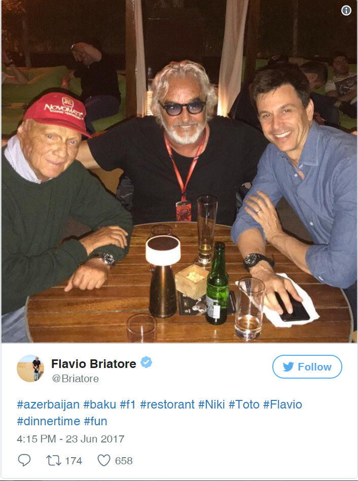 Tongues were wagging after Alonso's manager Flavio Briatore tweeted a picture of the Italian taking out to dinner Mercedes duo Toto Wolff and Niki Lauda