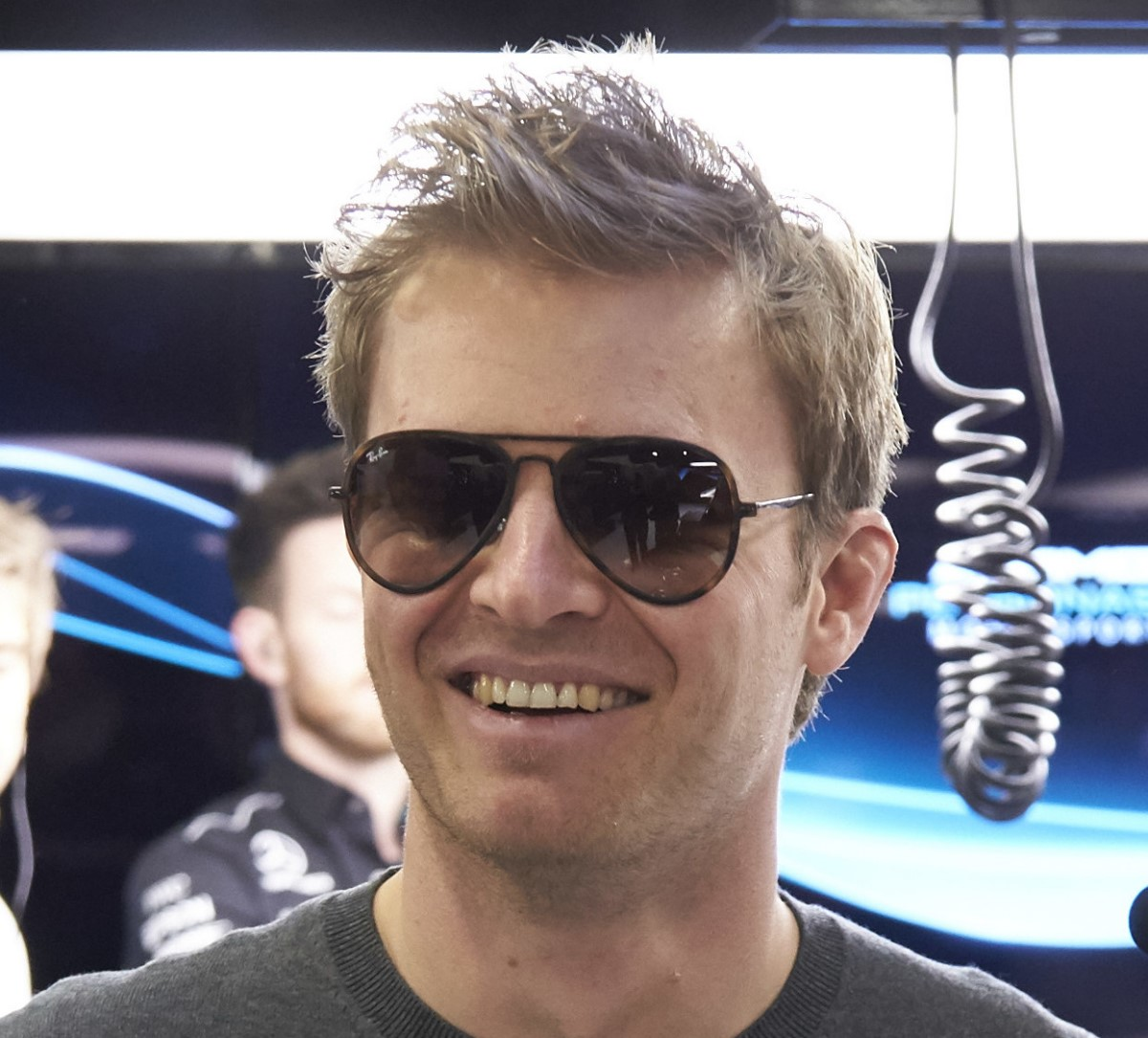 A relaxed Rosberg popped in on the boys