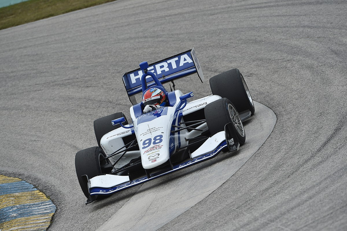 Colton Herta, the Indy Lights rookie for Andretti-Steinbrenner Racing, tested the push-to-pass system recently at the Homestead-Miami Speedway in Florida.