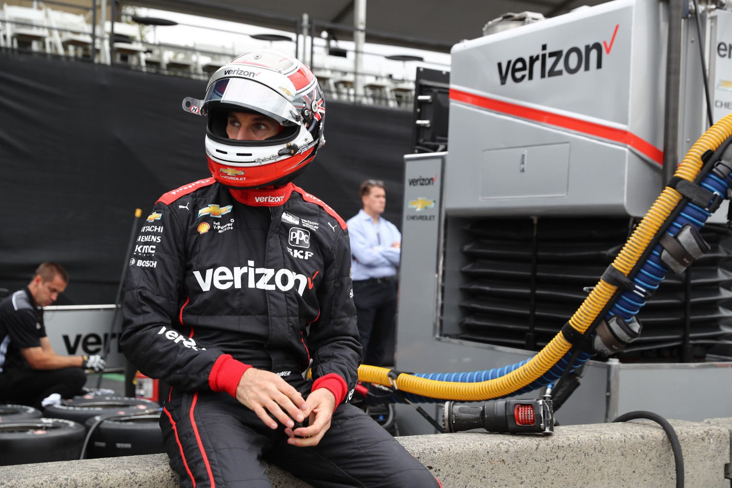 Will Power looks down pit lane prior to the start of the Portland Open Test