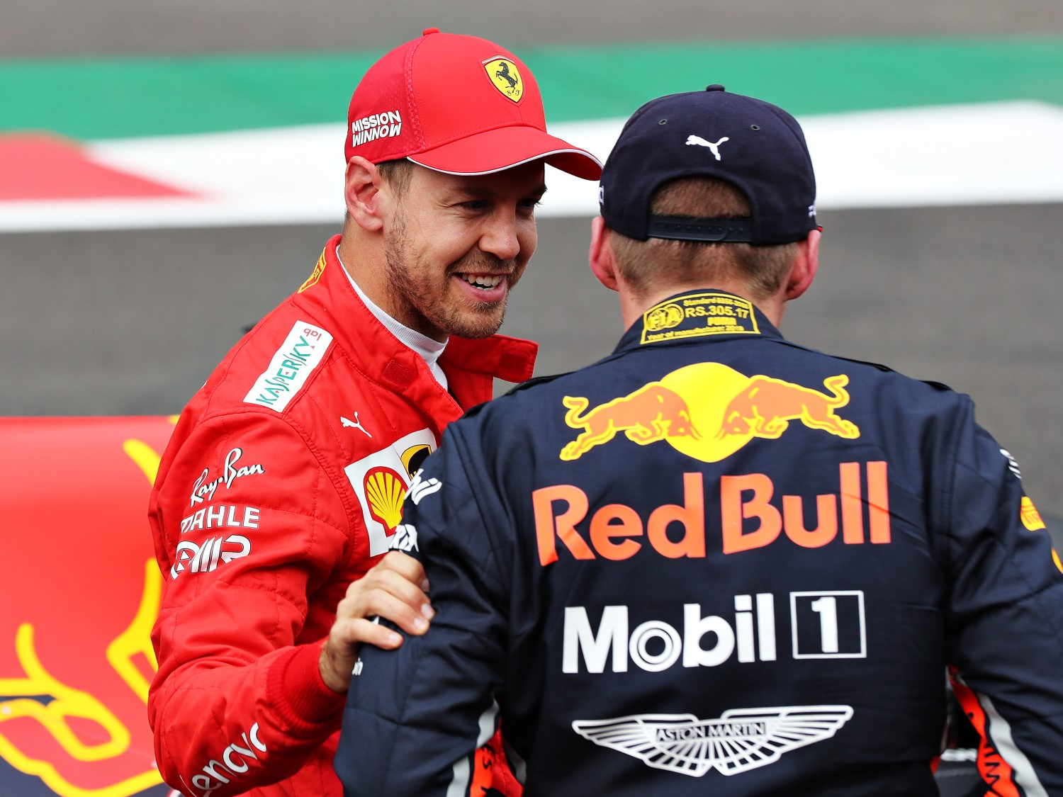 In Parc Ferme Vettel laughs and tells Mx, what you did not see the yellow?