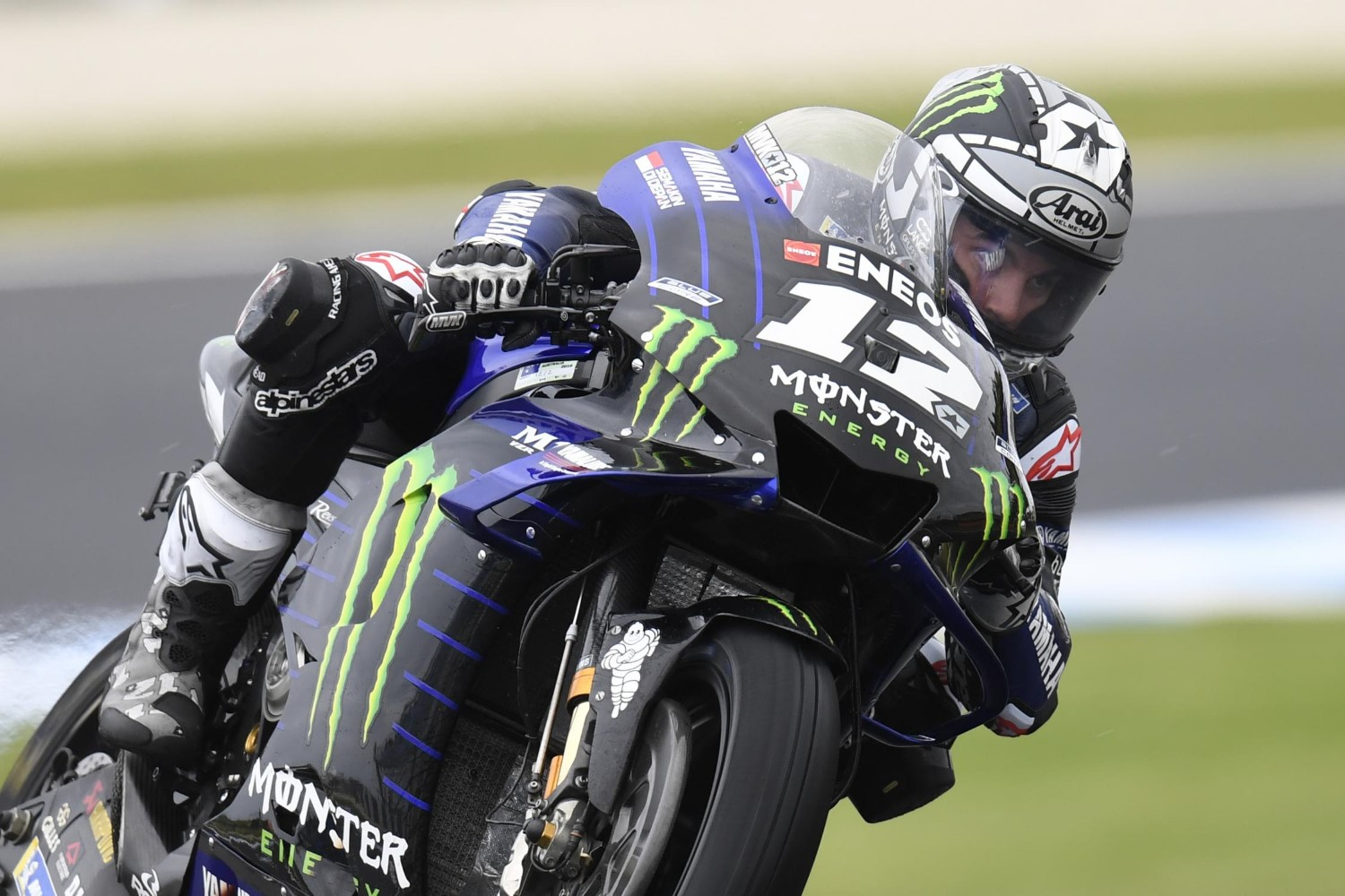 Maverick Vinales on rain tires