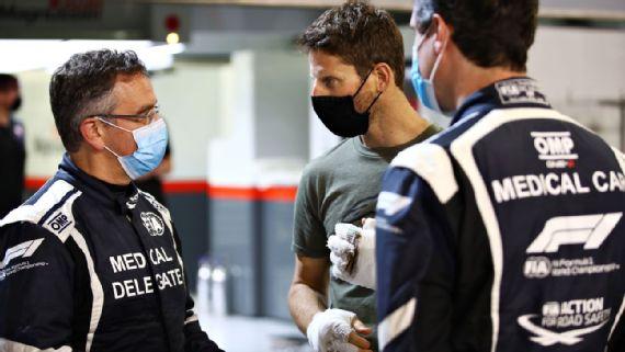 Video: Romain Grosjean returns to F1 paddock to thank rescuers