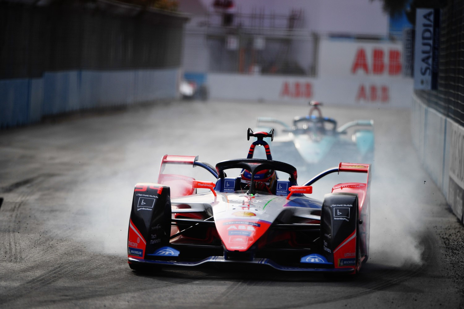 Pascal Wehrlein - in Formula E now - locks brakes in opening race