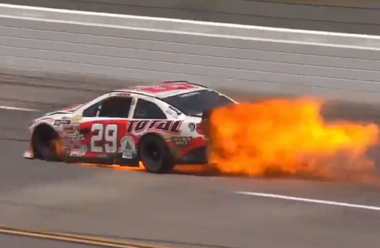 ARCA driver transported to hospital after flaming wreck at Talladega