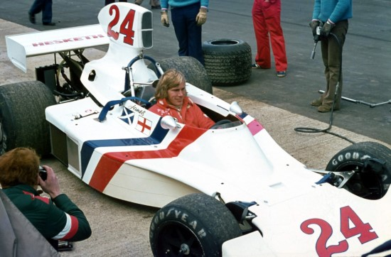 James Hunt at Silverstone in 1975 in Hesketh 308B