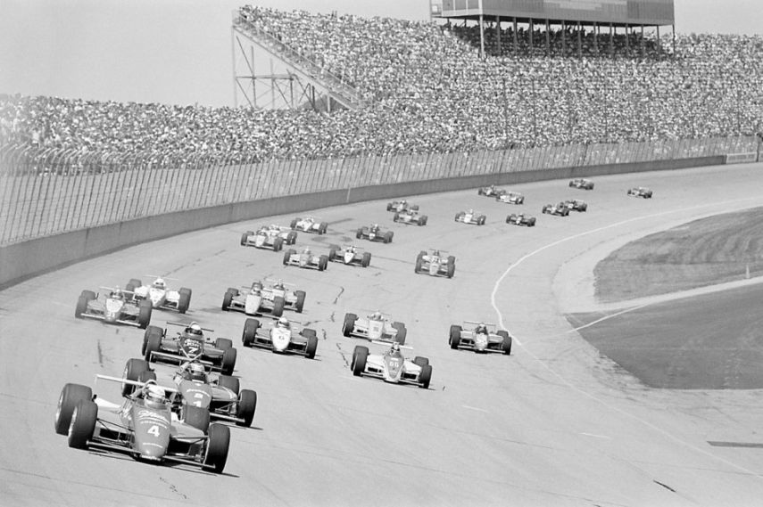 1985 CART Michigan 500. Before Tony George destroyed the sport, IndyCars would draw a decent crowd at Michigan