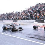 Mario Andretti (Black Lotus) and James Hunt at start of 1976 Japanese GP