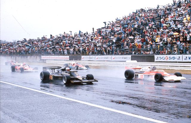 Start of 1976 Japanese GP in typhoon like conditions - Andretti on pole, Hunt on outside. Andretti lapped the field in winning
